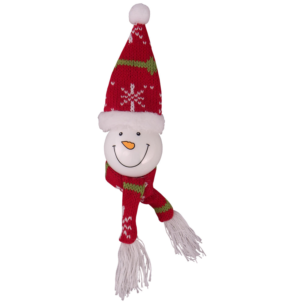 "Krebs Designer Snowman with Red Knitted Hat Classic Glass Figurine Christmas Ornament, 10"" (250mm)"