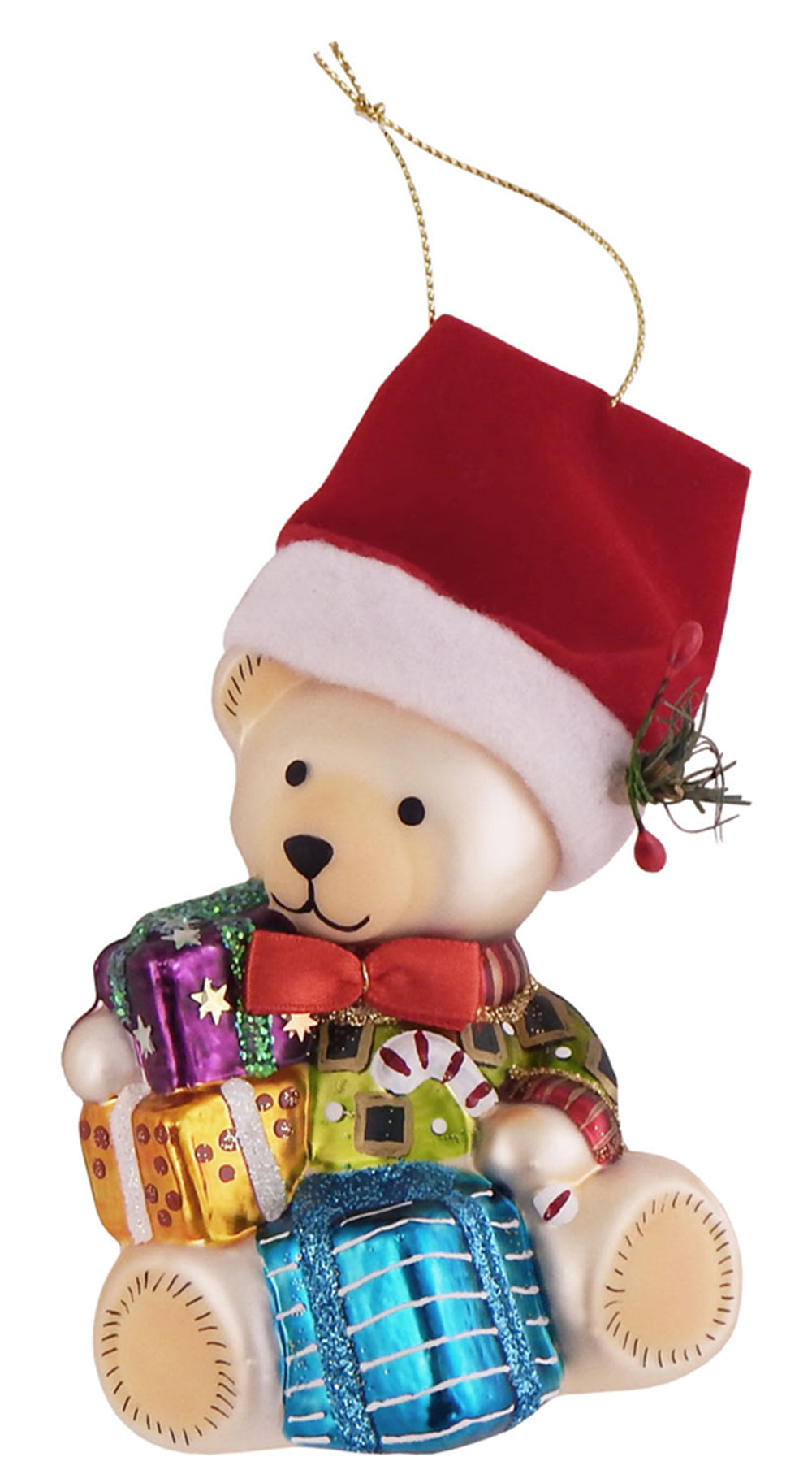 "Krebs Designer Glass Teddy Bear with Gifts Figurine Christmas Holiday Ornament, 5"" (127mm)"