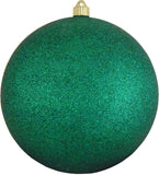 Dark Green Glitter Shatterproof Large Christmas Ornaments