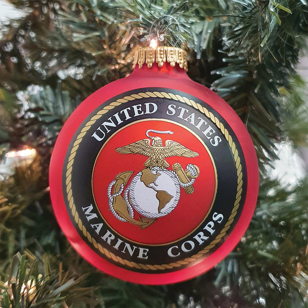 "3 1/4"" (80mm) Made In The USA Military Logo & Hymn Glass Ball Keepsake Ornament"