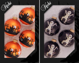 "8 Count Assorted 2 5/8"" (67mm) Made in the USA Decorated Boxed Glass Halloween Ornaments"