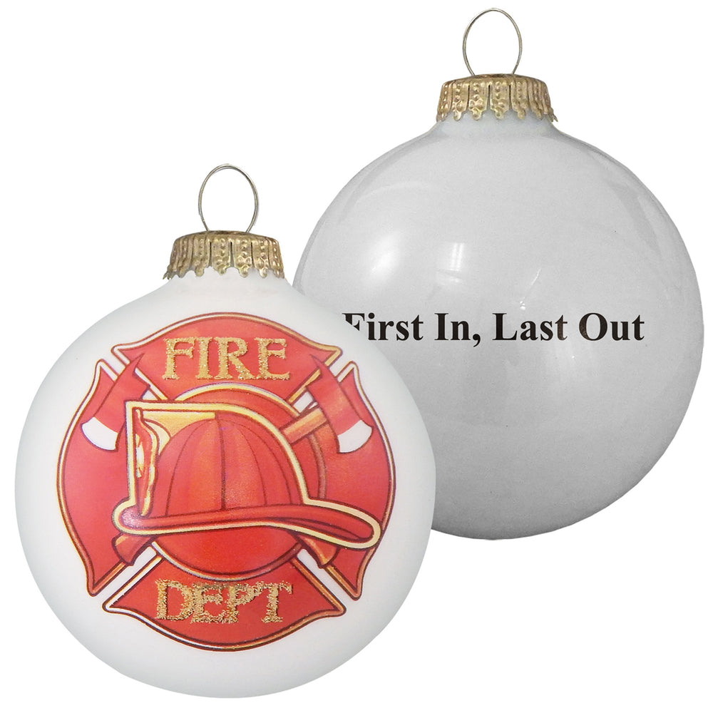 "3 1/4"" (80mm) First Responders Fire Department Glass Ornaments with Seal"