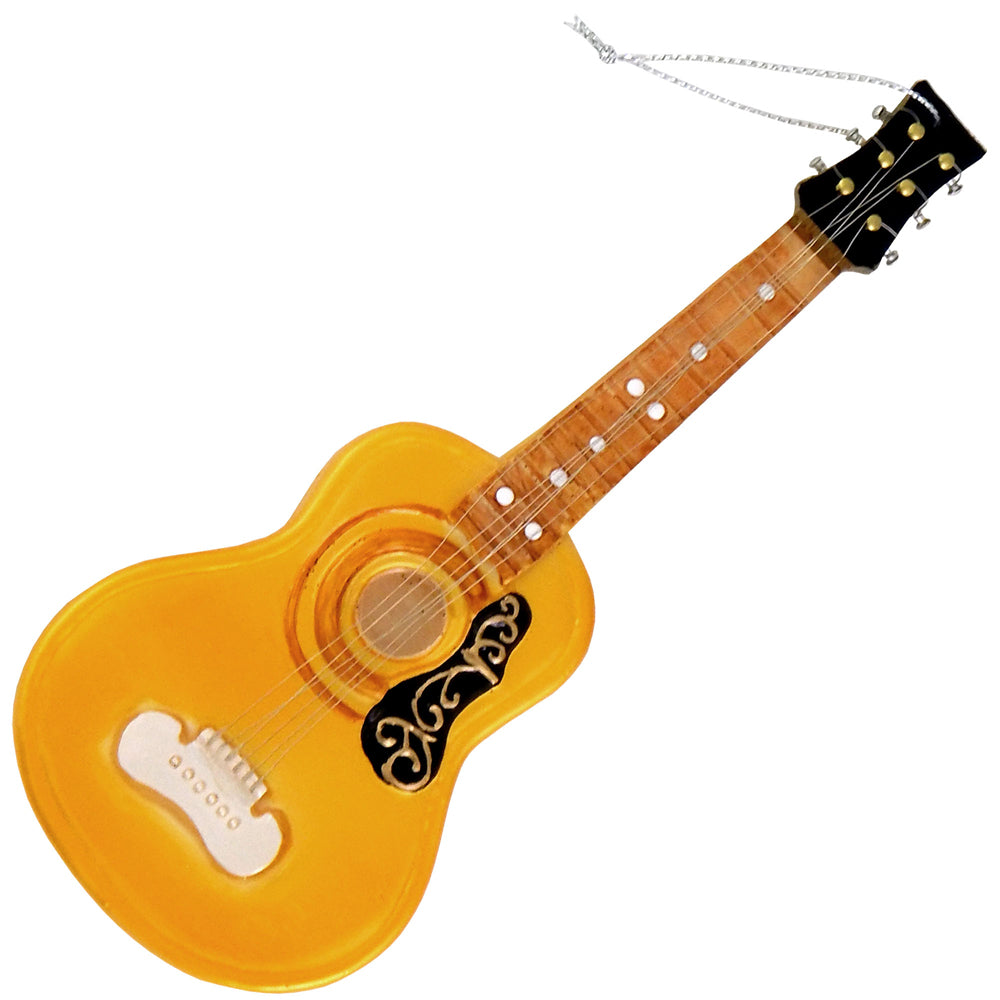 "Krebs Designer Glass Acoustic Guitar Figurine Christmas Holiday Ornament, 3 3/4"" (95mm)"