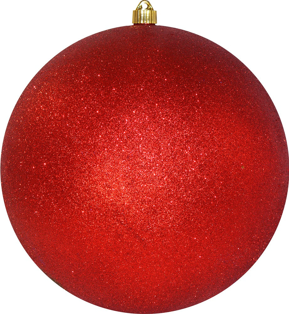 Red Glitter Round Shatterproof Large Christmas ornament