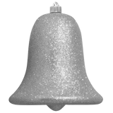 silver glitter Bell large Christmas ornament