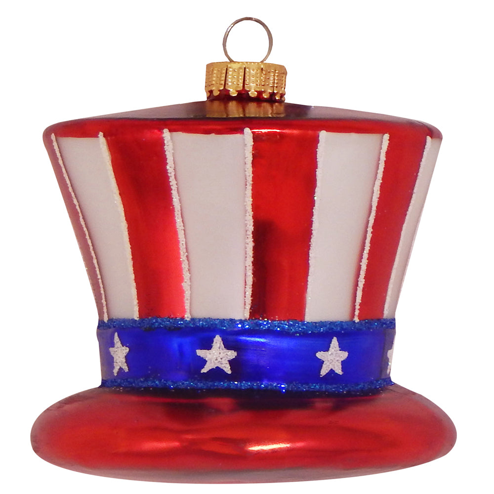 "Krebs Designer Glass Uncle Sam Hat Figurine Christmas Holiday Ornament, 4 1/4"" (108mm)"