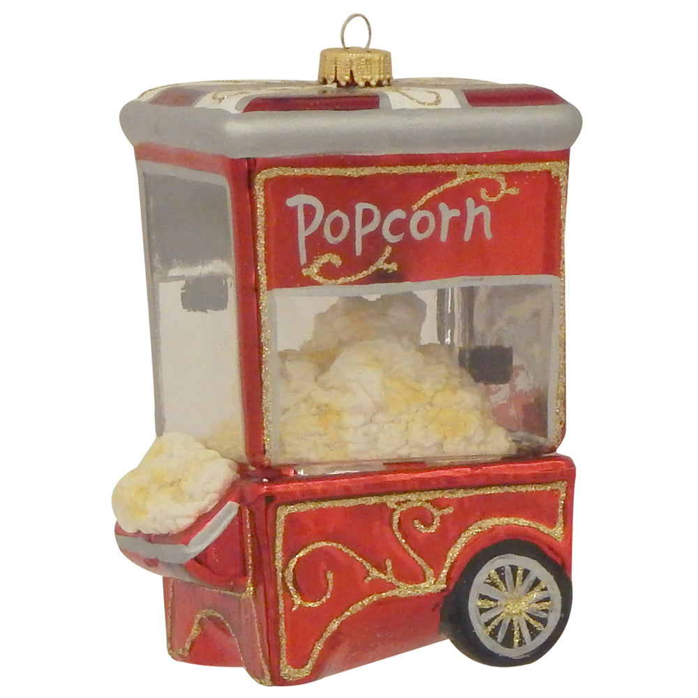 "Krebs Designer Glass Popcorn Machine Figurine Christmas Holiday Ornament, 3 1/2"" (89mm)"
