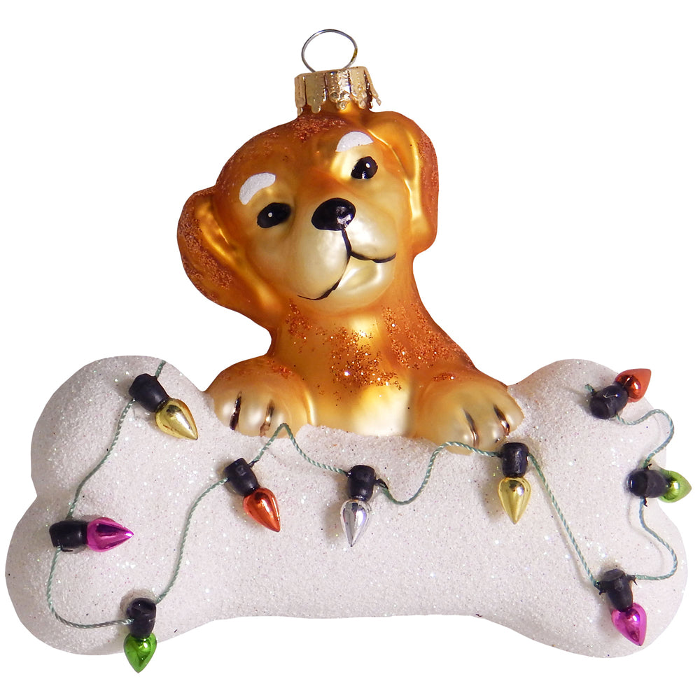 "Krebs Designer Glass Brown Dog with White Bone Figurine Christmas Holiday Ornament, 4"" (100mm)"