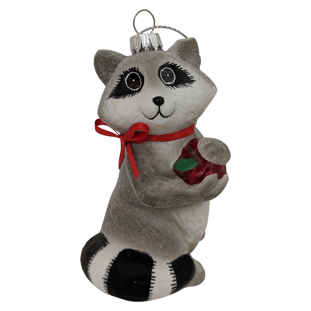 "Krebs Designer Glass Racoon with Apple Figurine Christmas Holiday Ornament, 4"" (100mm)"