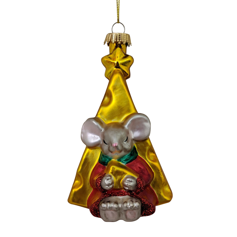 "Krebs Designer Glass Mouse in Front of Cheese Slice Figurine Christmas Holiday Ornament, 4"" (100mm)"
