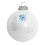 White glass ornaments with the U.S. Coast Guard