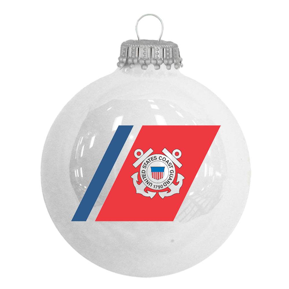 White glass ornaments with the U.S. Coast Guard Seal