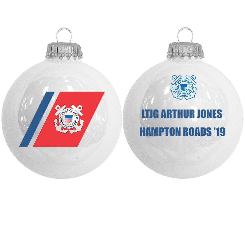 "3 1/4"" Personalized White Glass Ornaments with U.S. Coast Guard Seal"