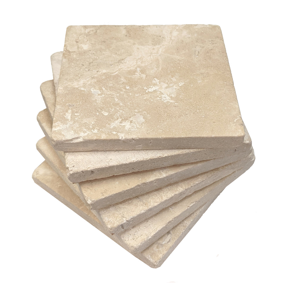 "4"" Square Premium Absorbent Natural Stone Ivory Travertine Drink Coasters, Set of 6"