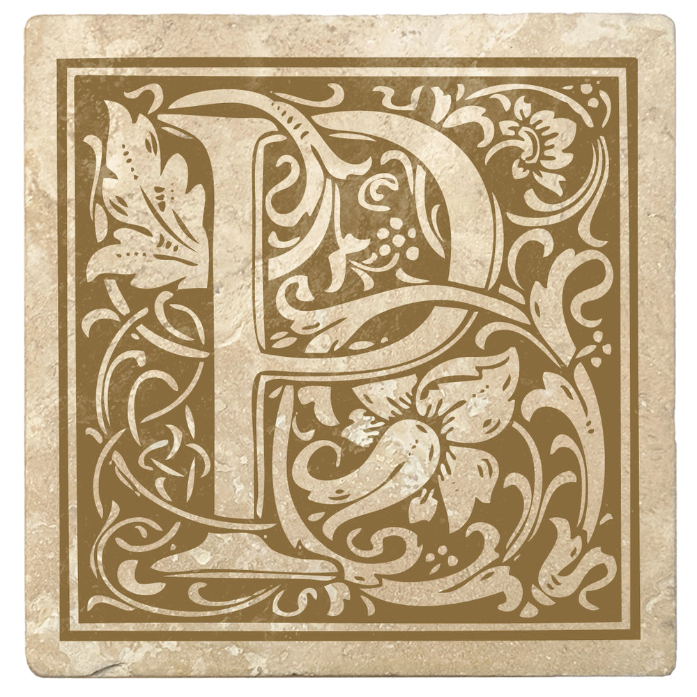 "Harvest Gold Monogram Absorbent Stone 4"" Square Drink Coasters, Set of 4"
