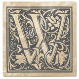 "Pewter Gray Monogram Absorbent Stone 4"" Square Drink Coasters, Set of 4"