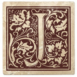 "Hot Java Brown Monogram Absorbent Stone 4"" Square Drink Coasters, Set of 4"