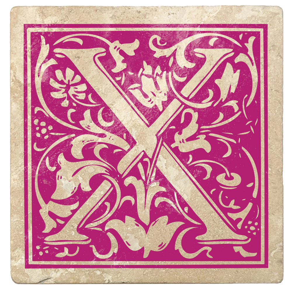 "Tutti Frutti Pink Monogram Absorbent Stone 4"" Square Drink Coasters, Set of 4"