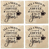 "Set of 4 Absorbent Stone 4"" Religious Drink Coasters, Cup Of Coffee And A Heart Full Of Jesus"