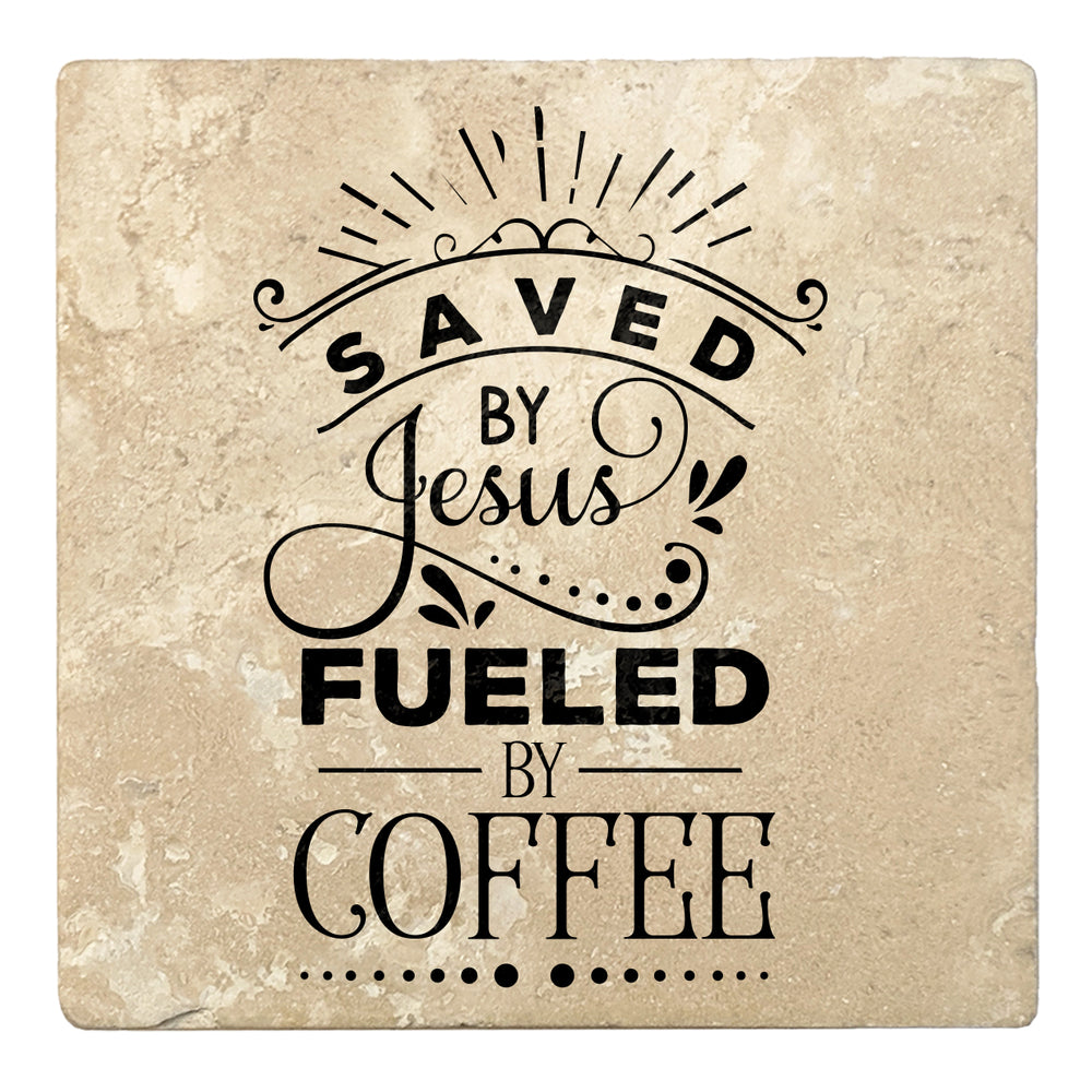 "Set of 4 Absorbent Stone 4"" Religious Drink Coasters, Saved By Jesus, Fueled By Coffee"
