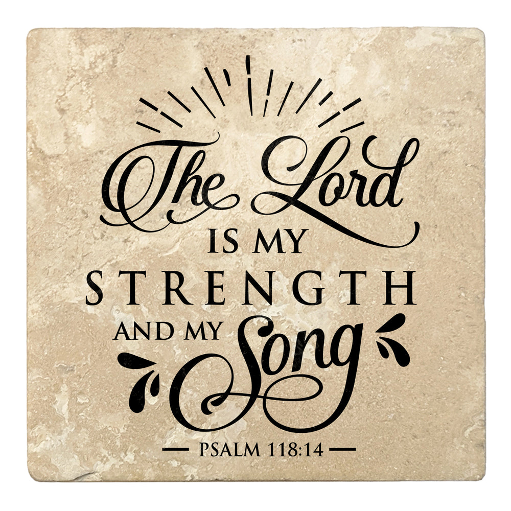 "Set of 4 Absorbent Stone 4"" Religious Drink Coasters, The Lord Is My Strength And My Song"