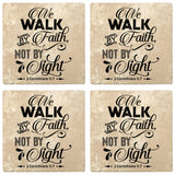 "Set of 4 Absorbent Stone 4"" Religious Drink Coasters, We Walk By Faith Not By Sight"
