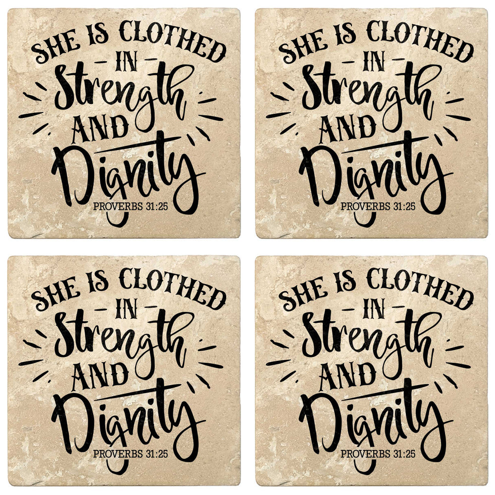 "Set of 4 Absorbent Stone 4"" Religious Drink Coasters, She Is Clothed In Strength And Dignity"