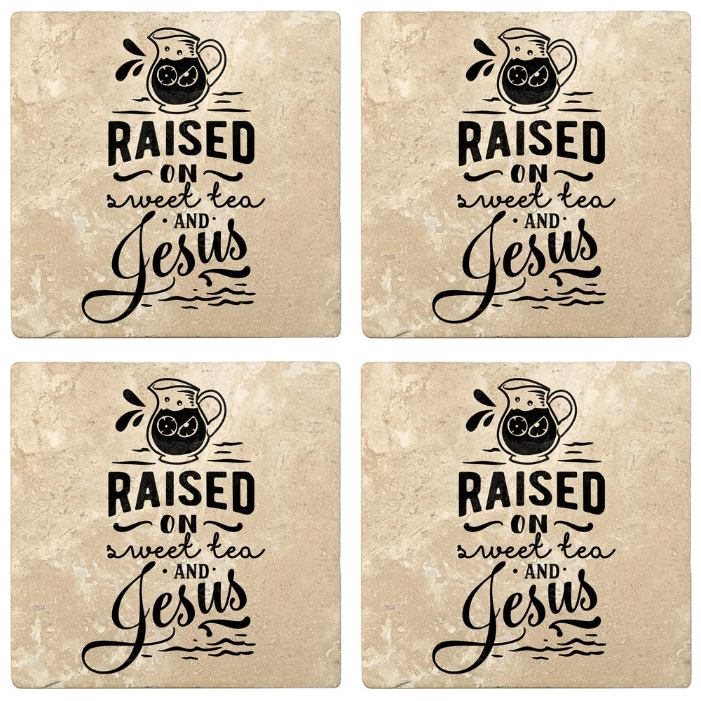 "Set of 4 Absorbent Stone 4"" Religious Drink Coasters, Raised On Sweet Tea And Jesus"