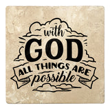 "Set of 4 Absorbent Stone 4"" Religious Drink Coasters, With God All Things Are Possible"