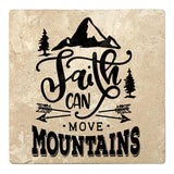 "Set of 4 Absorbent Stone 4"" Religious Drink Coasters, Faith Can Move Mountains"