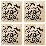 "Set of 4 Absorbent Stone 4"" Religious Drink Coasters, Faith Over Fear"