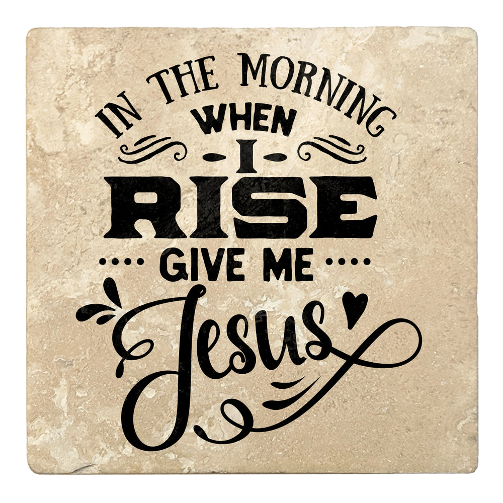 "Set of 4 Absorbent Stone 4"" Religious Drink Coasters, In The Morning When I Rise Give Me Jesus"