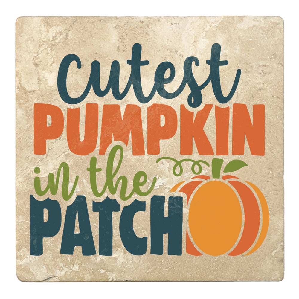 "Set of 4 Absorbent Stone 4"" Fall Autumn Coasters, Cutest Pumpkin In The Patch"