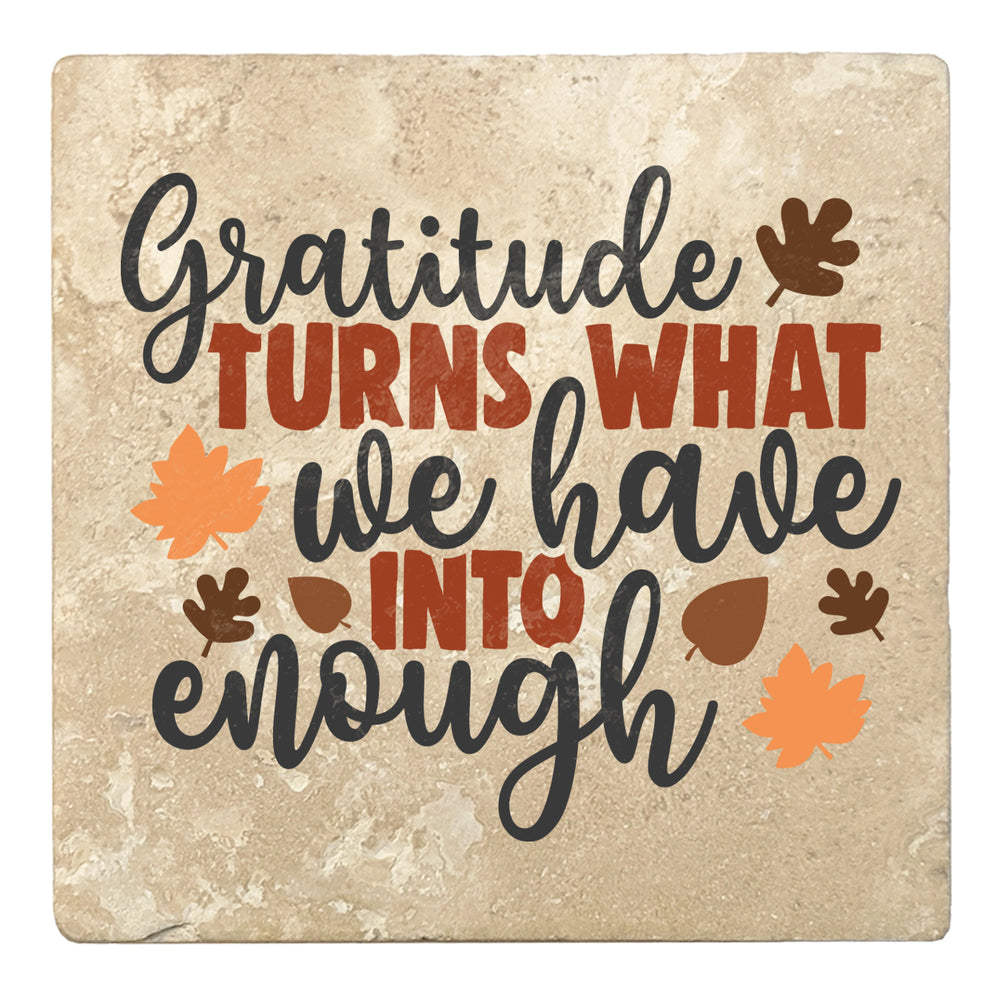 "Set of 4 Absorbent Stone 4"" Fall Autumn Coasters, Gratitude Turns What We Have Into Enough"