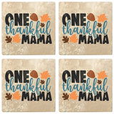 "Set of 4 Absorbent Stone 4"" Fall Autumn Coasters, One Thankful Mama"