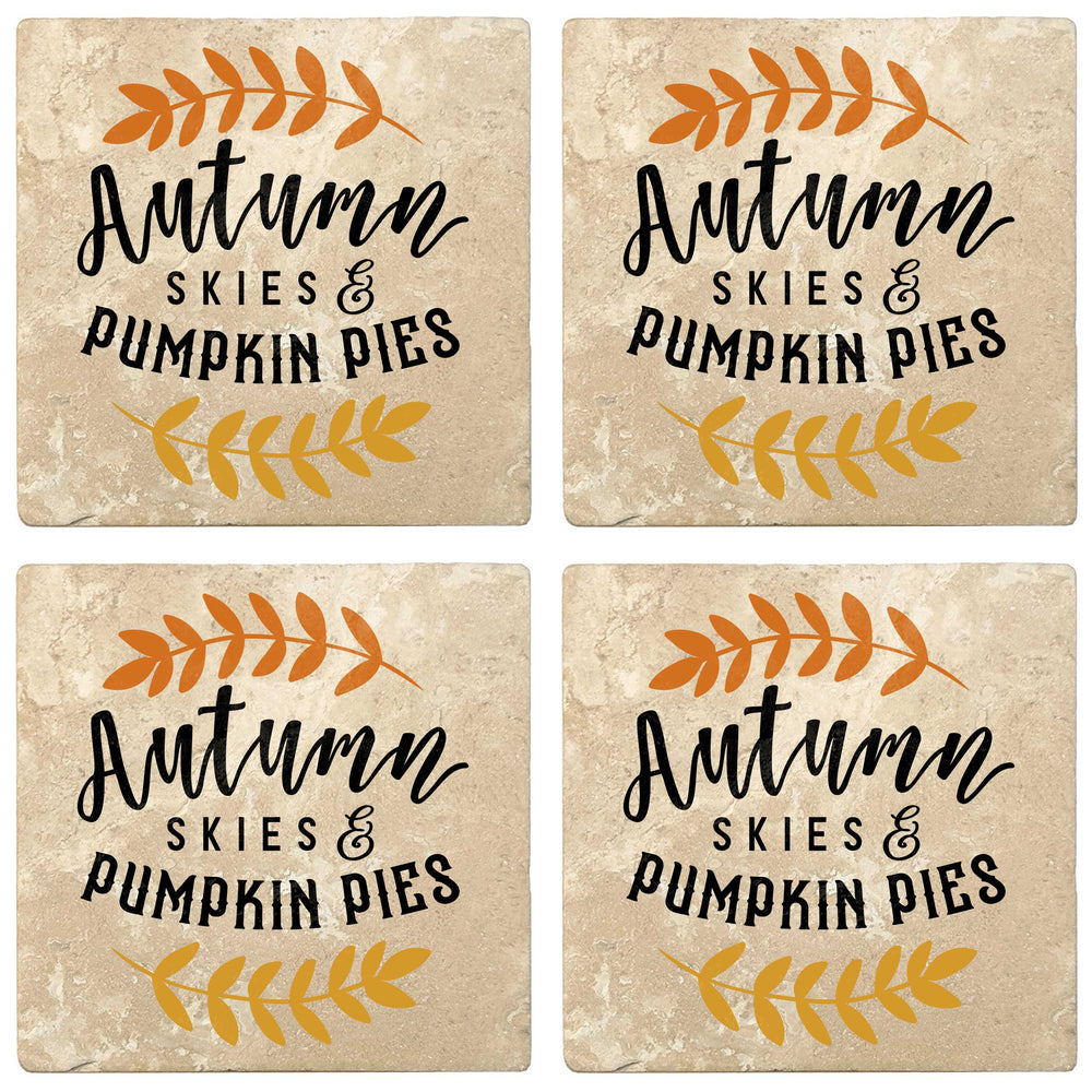"Set of 4 Absorbent Stone 4"" Fall Autumn Coasters, Autumn Skies And Pumpkin Pies"