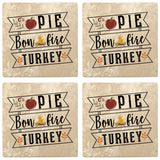 "Set of 4 Absorbent Stone 4"" Fall Autumn Coasters, Pie, Bonfire, Turkey"