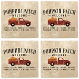 "Set of 4 Absorbent Stone 4"" Fall Autumn Coasters, Pumpkin Patch Welcome - Truck"