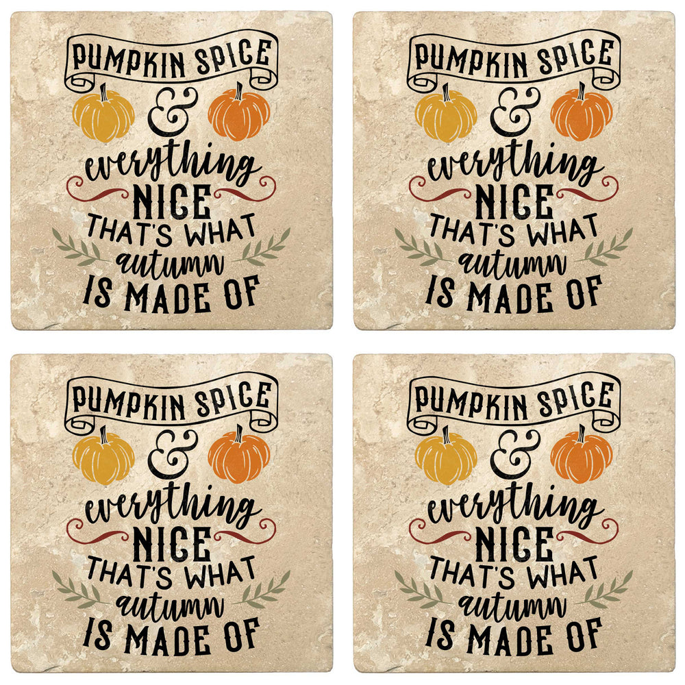 "Set of 4 Absorbent Stone 4"" Fall Autumn Coasters, Pumpkin Spice & Everything Nice"