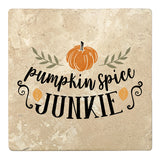 "Set of 4 Absorbent Stone 4"" Fall Autumn Coasters, Pumpkin Spice Junkie"