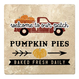 "Set of 4 Absorbent Stone 4"" Fall Autumn Coasters, Welcome Pumpkin Pies Baked Fresh Daily"