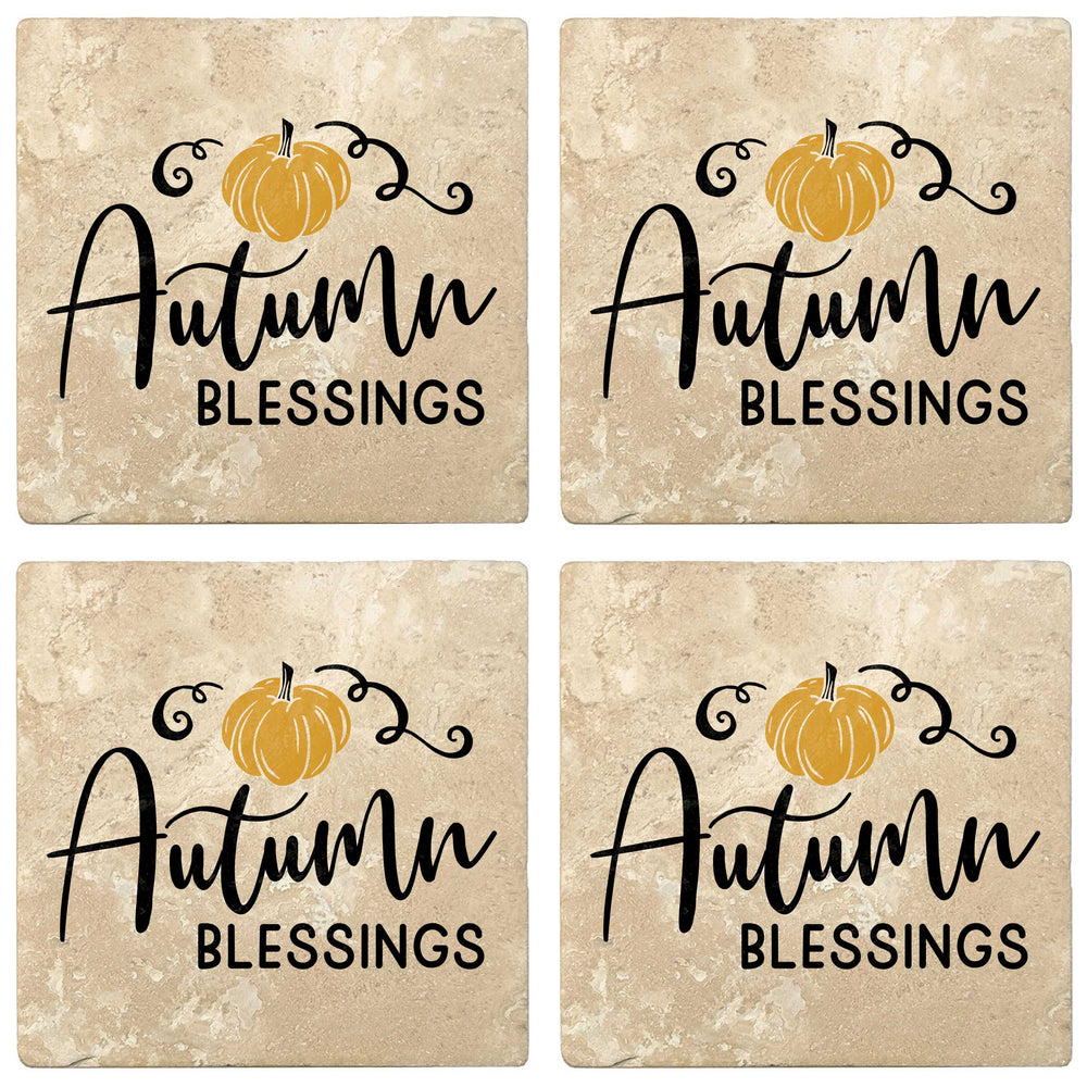 "Set of 4 Absorbent Stone 4"" Fall Autumn Coasters, Autumn Blessings"