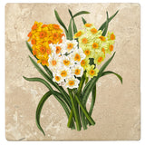 "Set of 4 Absorbent Stone 4"" Flower Designs Drink Coasters, Daffodil Bunch"