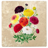 "Set of 4 Absorbent Stone 4"" Flower Designs Drink Coasters, Double French Ranunculus Bouquet"