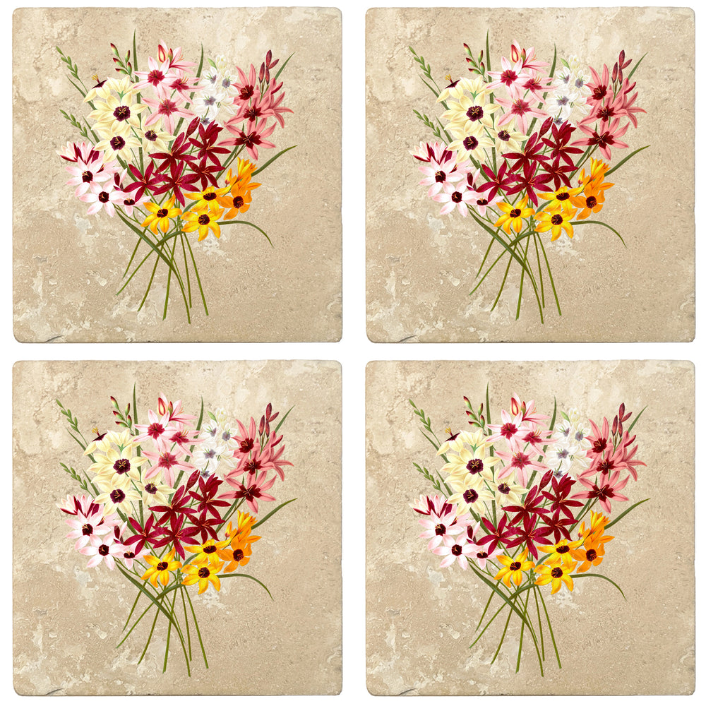 "Set of 4 Absorbent Stone 4"" Flower Designs Drink Coasters, Hybrid Ixias"