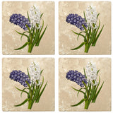 "Set of 4 Absorbent Stone 4"" Flower Designs Drink Coasters, Purple White Hyacinths"