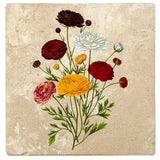 "Set of 4 Absorbent Stone 4"" Flower Designs Drink Coasters, Ranunculus Bouquet"