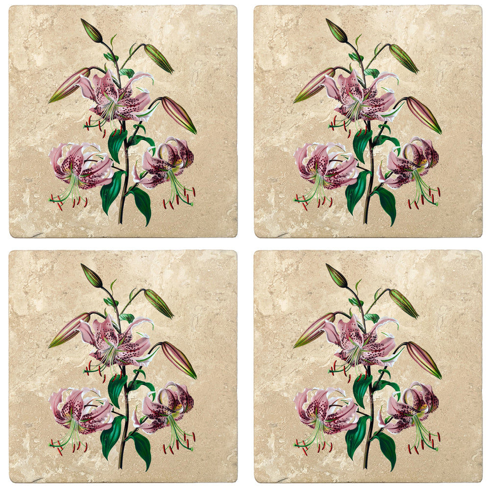 "Set of 4 Absorbent Stone 4"" Flower Designs Drink Coasters, Rubrum Lily"