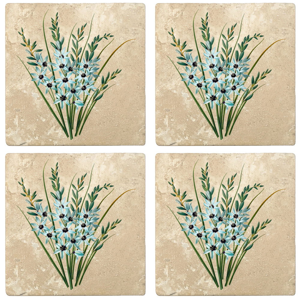 "Set of 4 Absorbent Stone 4"" Flower Designs Drink Coasters, Turquoise Ixia"