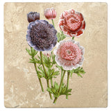"Set of 4 Absorbent Stone 4"" Flower Designs Drink Coasters, Anemones Double Flowers"
